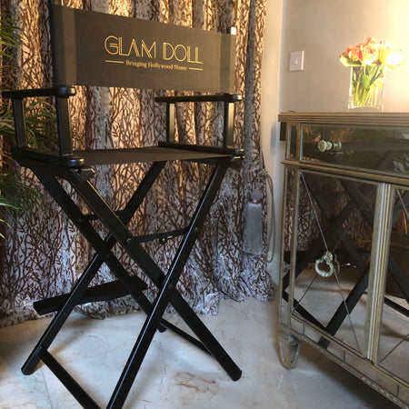 Glam Studio Makeup Director Chair - Black Frame - GLAM DOLL