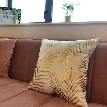 Metallic Gold Palm Print Throw Pillow - Glam Doll