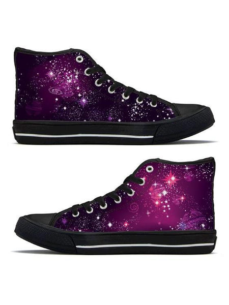 Cosmic Sparkle - High Top Canvas Shoes