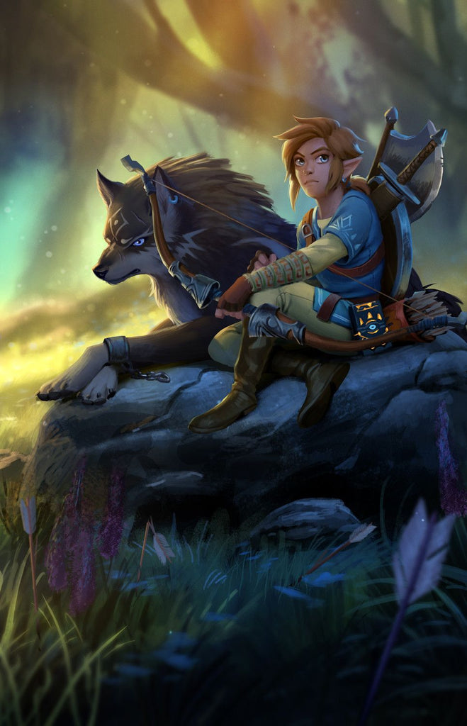 fan art wolf link et link breath of the wild