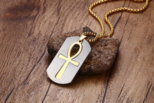 Stainless Steel Egyptian Hieroglyph Ankh Necklace Ancient Key of Life Crux Dog Tag
