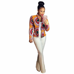 Women's Crop Coat Long Sleeve Fashion African Print Dashiki Short Casual Jacket Red Orange & Black