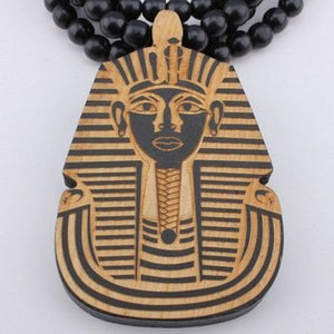 Wooden King Tut Egypt Kemet Pharaoh NySut Biti Beads Necklace Jewelry