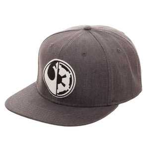 Embroidered Star Wars Split Logo Rebel Imperial Flatbill Flex Cap - Baseball Cap / Snapback