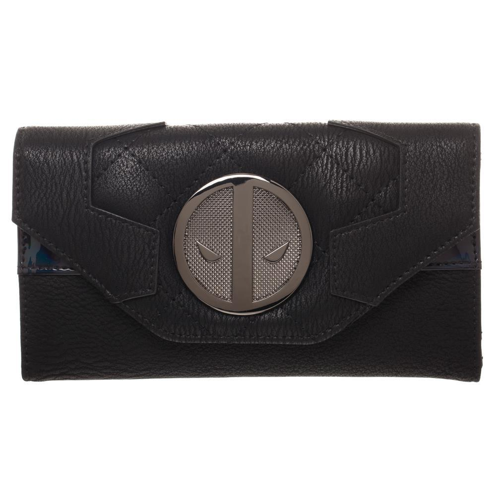 Grey and Black Deadpool Uniform Wrap Around Wallet, X-Force Insignia Bi-Fold Wallet, Marvel Deadpool Costume