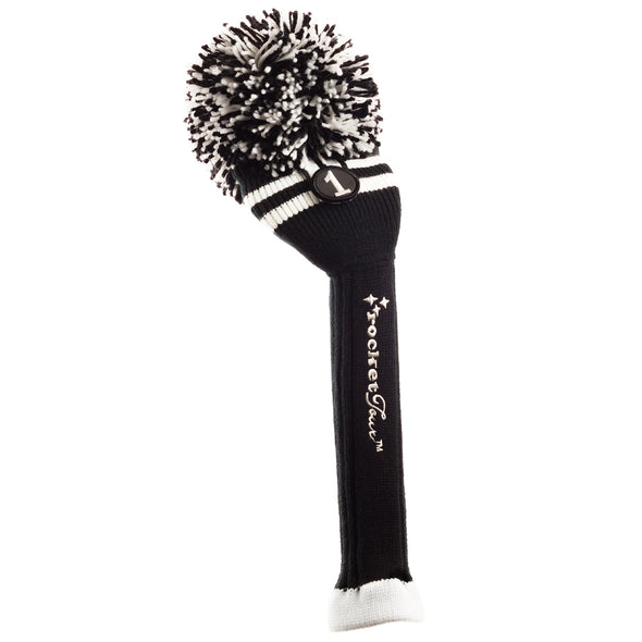 Two Stripe Pom Pom Headcover - Black W / 2 White Stripes