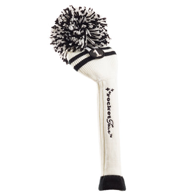 Two Stripe Pom Pom Headcovers - White W / 2 Black Stripes