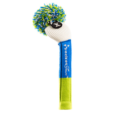 Tri Stripe Pom Pom - White / Royal / Lime