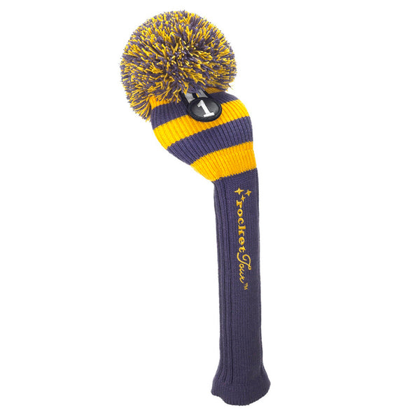 Rugby Stripe Pom Pom - Purple / Yellow