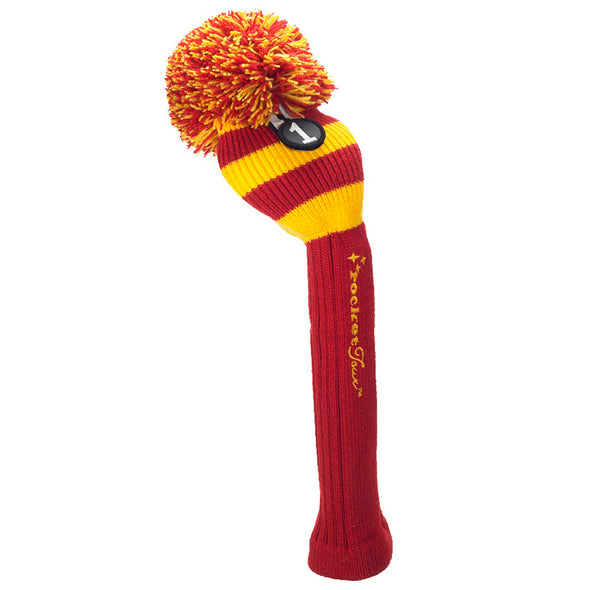 Rugby Stripe Pom Pom Headcover - Red / Yellow