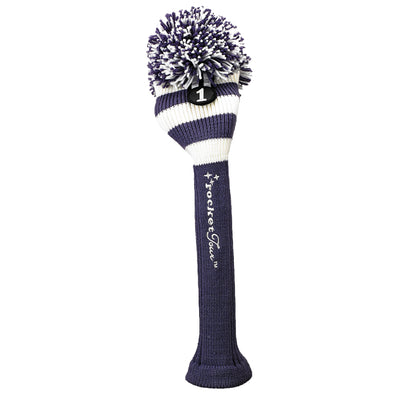 Rugby Stripe Pom Pom Headcover - Purple / White