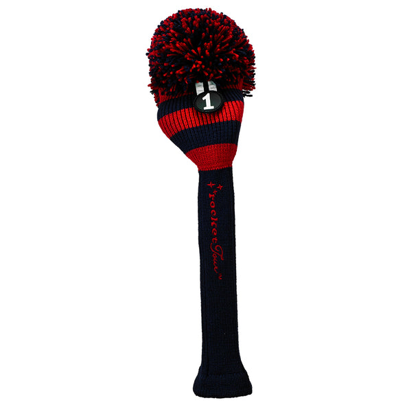 Rugby Stripe Pom Pom Headcover - Navy / Red