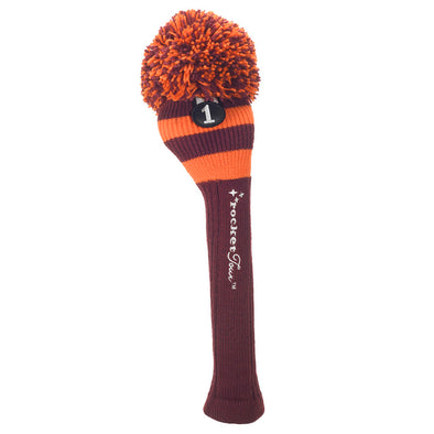 Rugby Stripe Pom Pom Headcover - Maroon / Orange