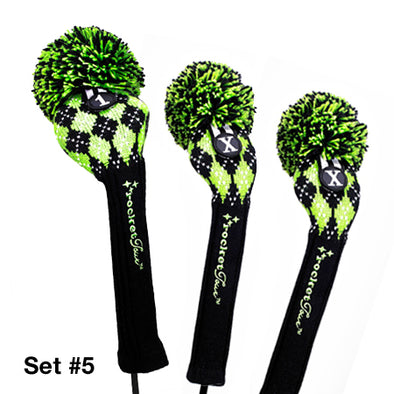 Golf Headcovers Gift Set - Lime Argyle