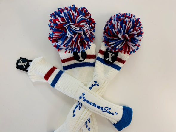 Gift Set - White Two Stripe with Royal Blue & Red