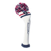 TWO STRIPE POM POM- Limited Edition! WHITE w/ RED & NAVY