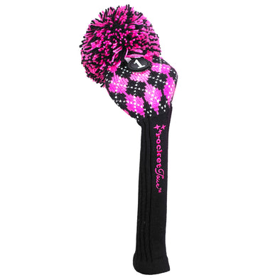 Argyle Pom Pom - Black / Hot Pink