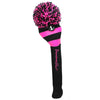 Rugby Stripe Pom Pom Headcover - Black / Hot Pink