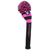 Rugby Stripe Pom Pom Headcovers - Black / Hot Pink
