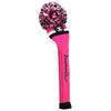 Victory Stripe Pom Pom Headcover - Hot Pink / Black / White