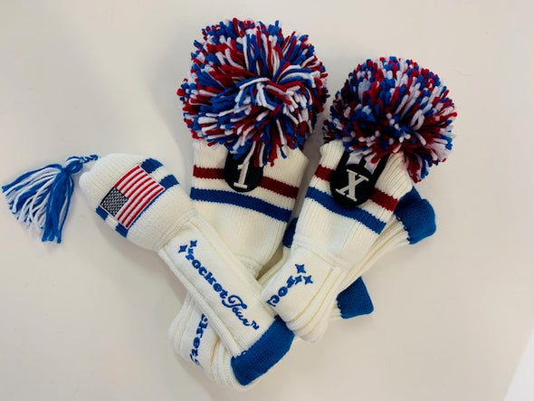 Gift Set - 1 Driver & 2 Fairway Covers - White with Red & Royal, and USA Mini Tassel