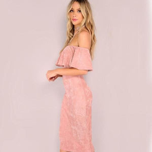 Backless Midi Pink Faux Suede Off The Shoulder Ruffle Dress