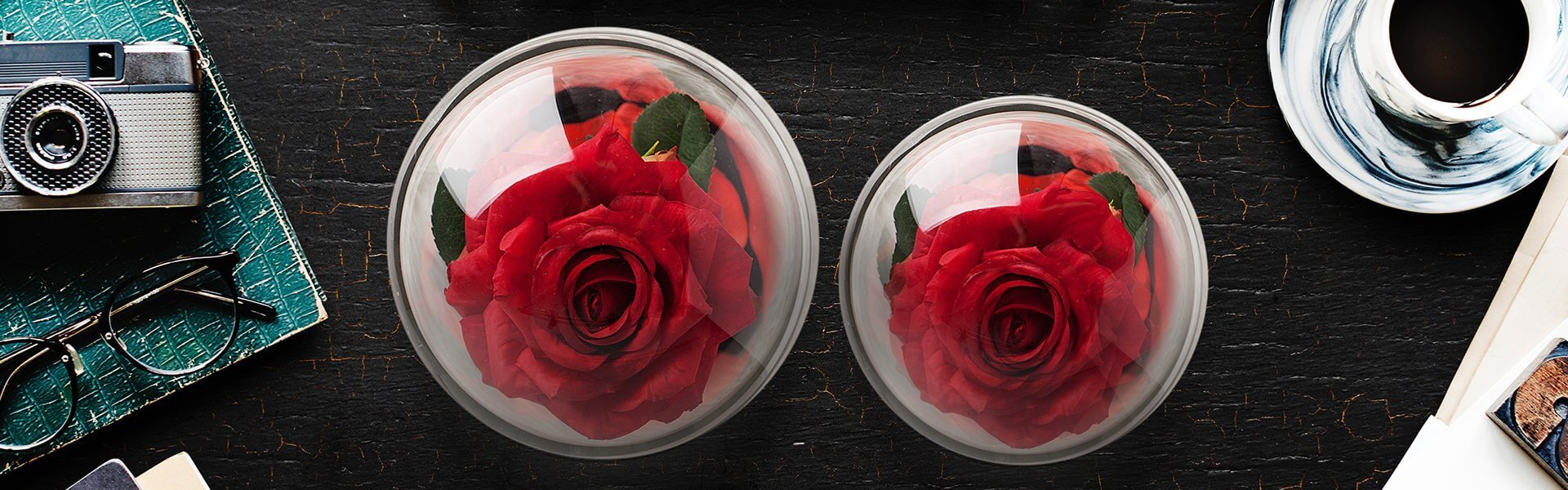 Two Red everlasting roses in crystal domes