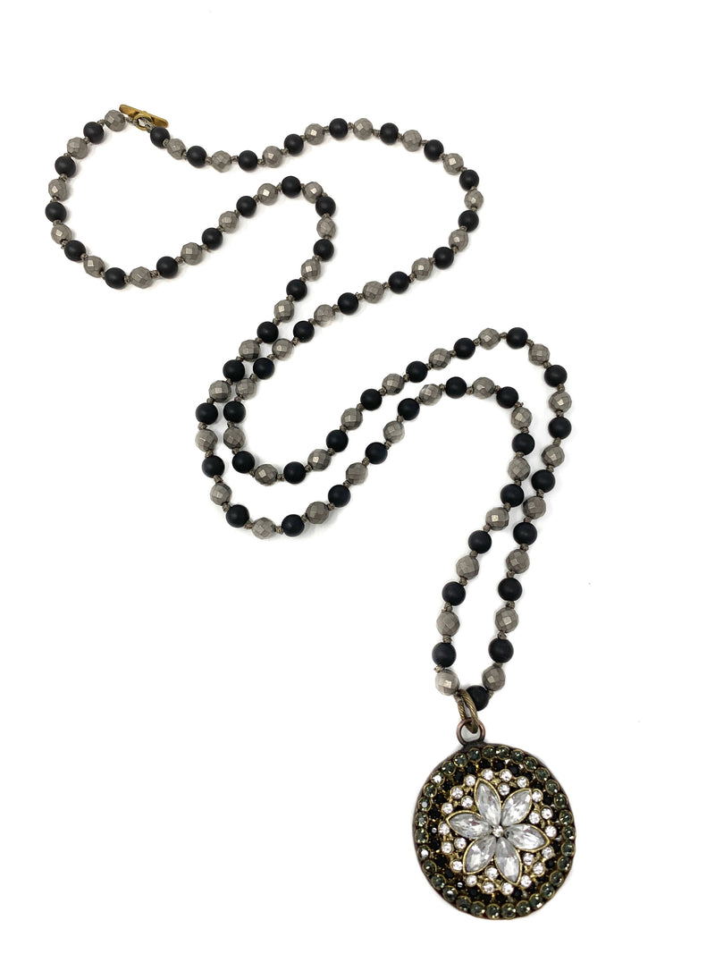 Vintage Style Rhinestone Pendant on Onyx and Gray Handknotted Chain