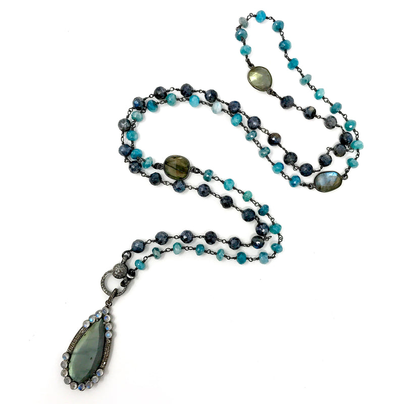 Labradorite and Blue Quartz Chain with Labradorite and Diamond Pendant with Diamond Clasp - Necklace