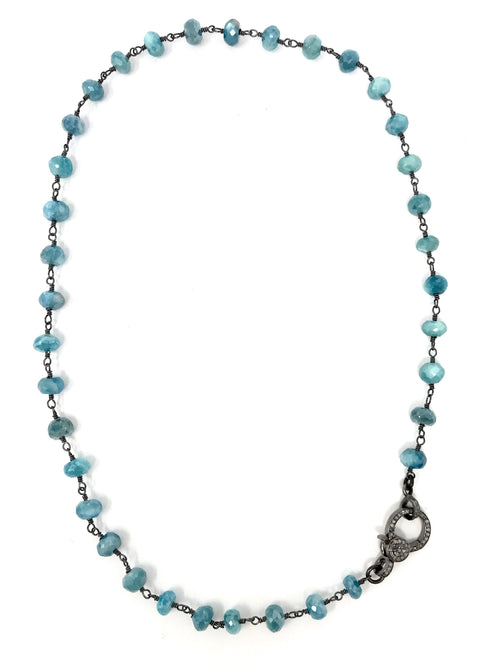 Blue Quartz Chain with Pave Diamond Clasp