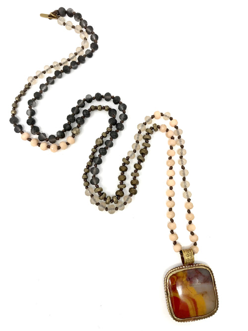 Assorted Handknotted Small Beads with Tibetan Banded Agate Pendant - Necklace