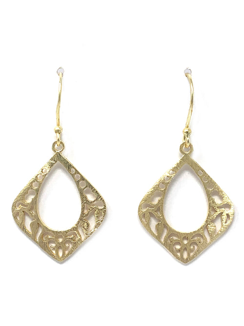 Gold Laser Cut Open Earrings in 2 Sizes