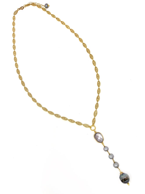 Filigree Chain with Pearl and Pink Moonstone Pendant - Necklace