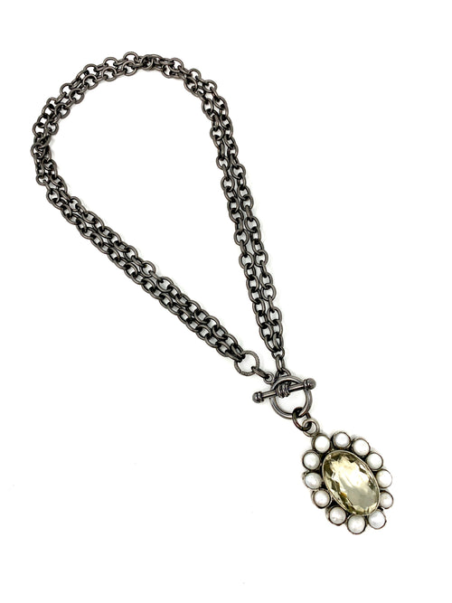 Pearl and Quartz Flower Pendant on Gunmetal Convertible Chain