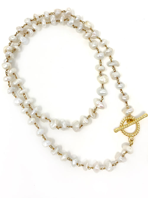 Freshwater Organic Shaped Pearl Necklace, Lariat or Bracelet with Toggle
