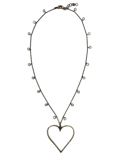 CZ Dangle Chain with Pave Diamond Outline Heart Pendant