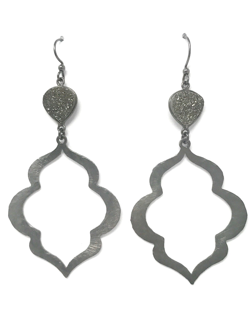 Gunmetal Hammered Scallop Drop with Druzy Connector Earrings