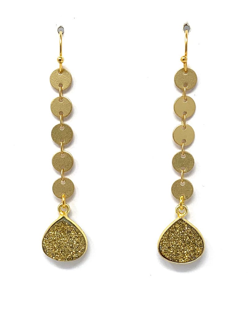 Gold Sequin Chain with Gold Druzy Earrings