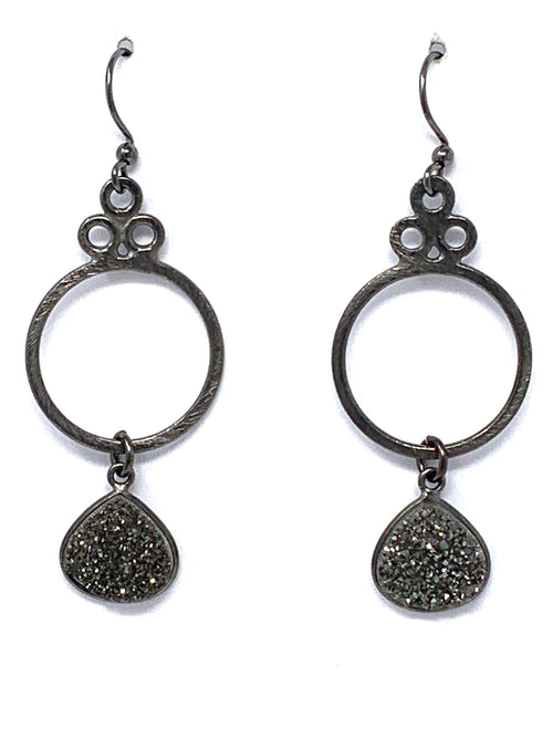 Gunmetal Circle with Dark Gray Druzy Earrings