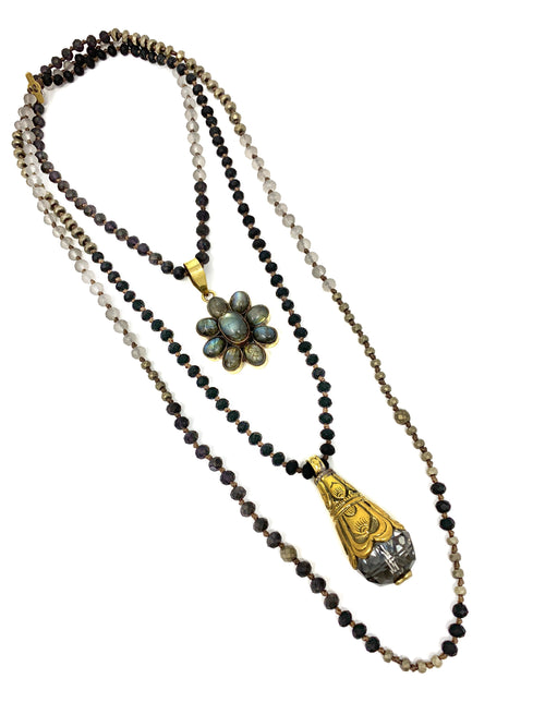 Hand Knotted Small Neutral Colored Beads with Labradorite Flower and Tibetan Crystal Pendants