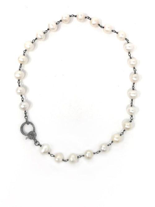 Potato Shaped White Freshwater Pearls with Diamond Clasp