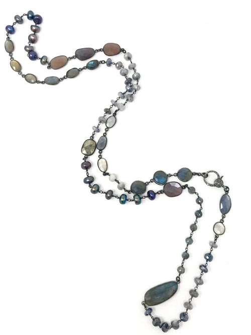 Peacock Pearls and Mixed Gemstone Necklace with Diamond Clasp