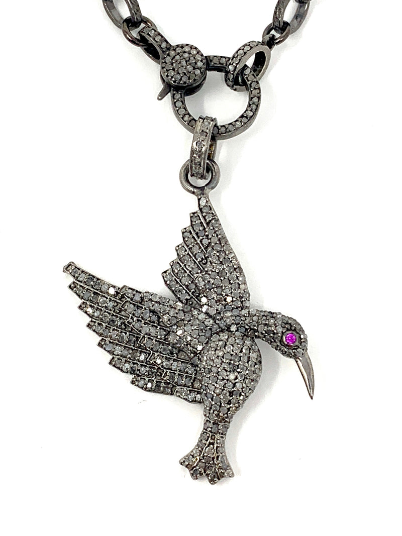 Hummingbird Pave Diamonds with Pink Sapphire Eye Pendant