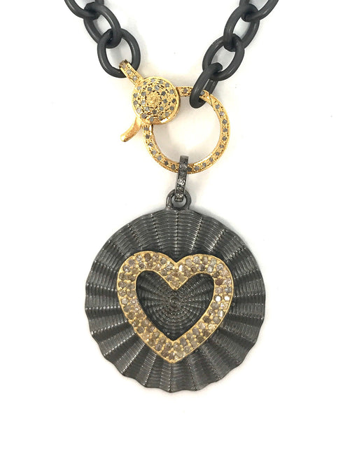 Two Tone Circle Heart Pave Diamond Pendant