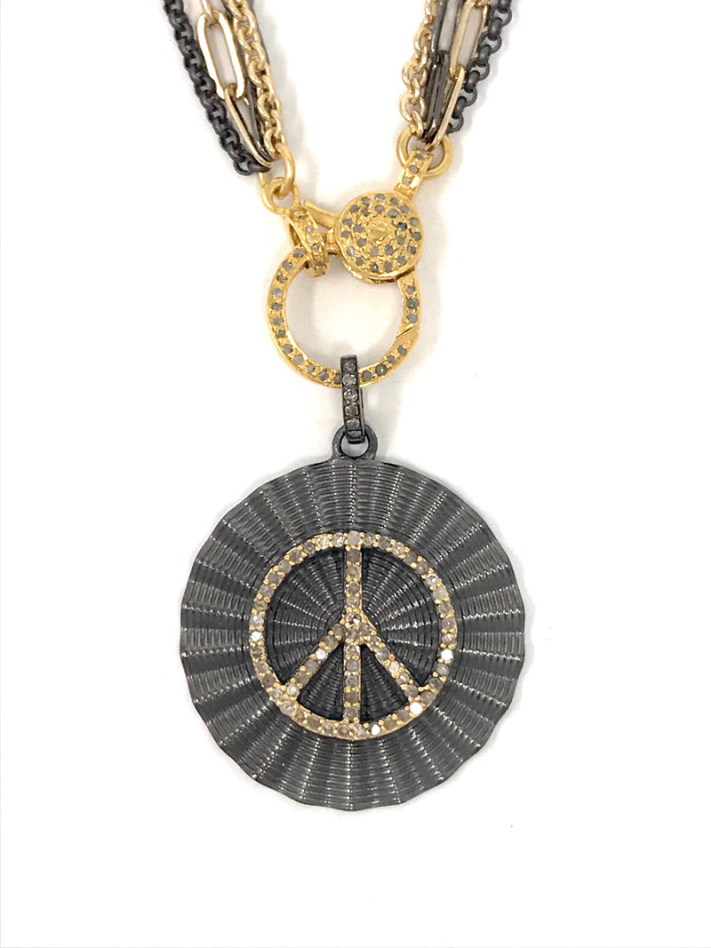 Two Tone Circle Peace Sign Pave Diamond Pendant