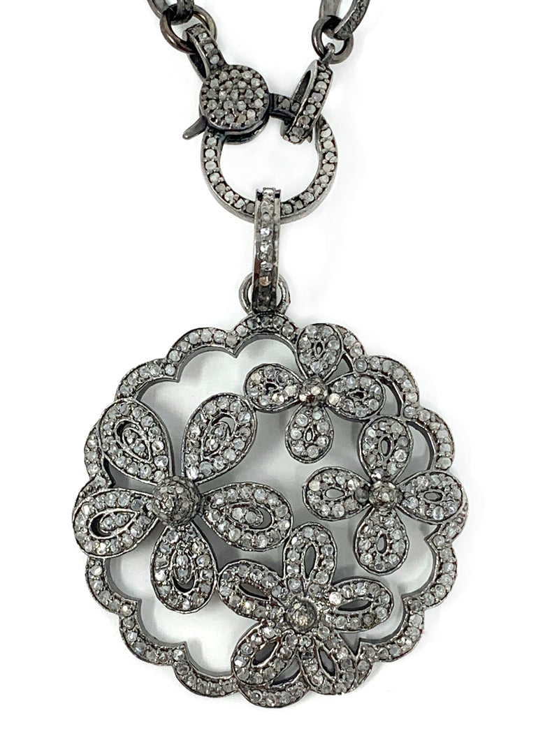 Four Flower Pave and Sterling Diamond Pendant
