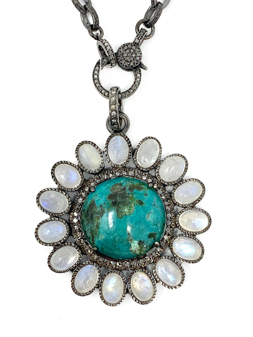 Turquoise, Moonstone and Diamond Flower Pendant #3