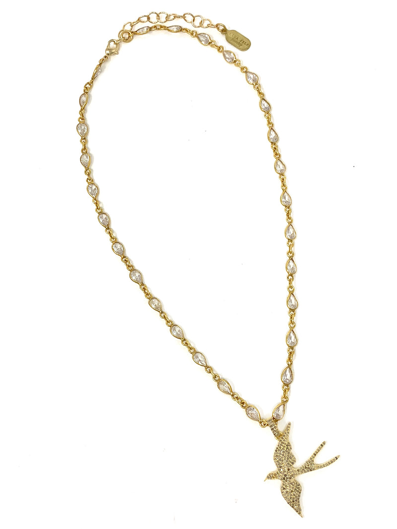 Bird Pendant Vermeil in Champagne Diamonds on a Cubic Zirconia Chain - Necklace