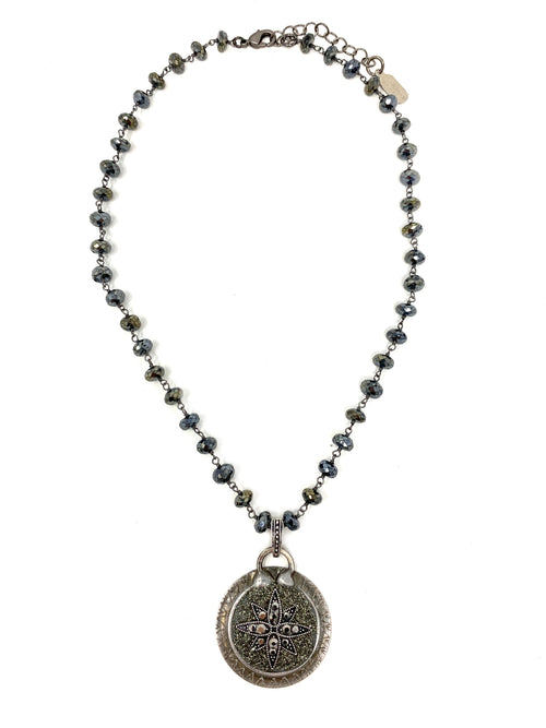 Mystic Spinel Beads with Silver Star Pendant