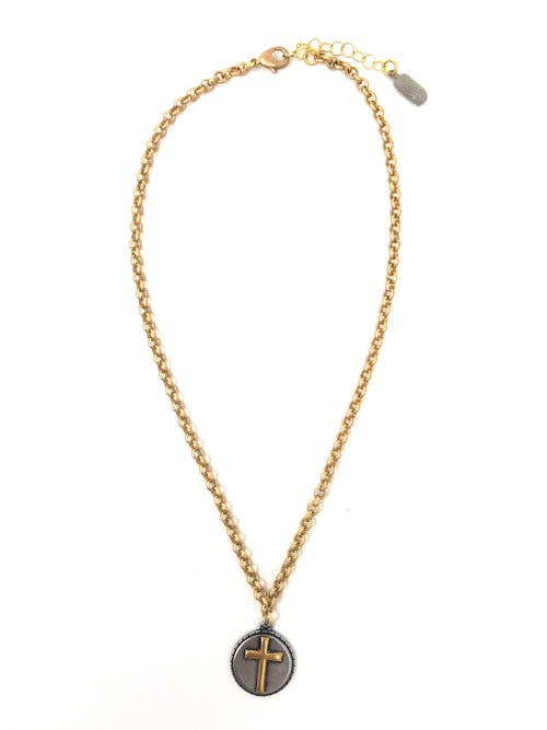 Two Tone Cross Pendant on Gold Rolo Chain - Necklace